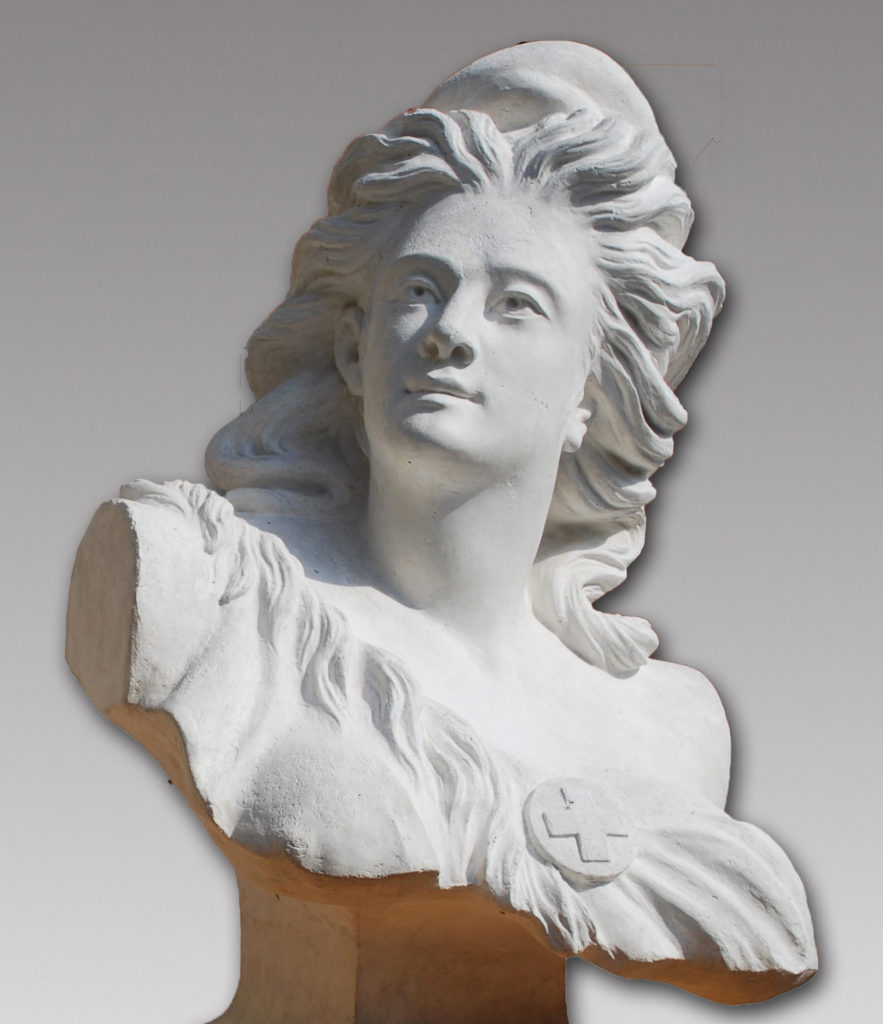 First version of the cast of a bust depicting a Swiss allegory. Municipal records.