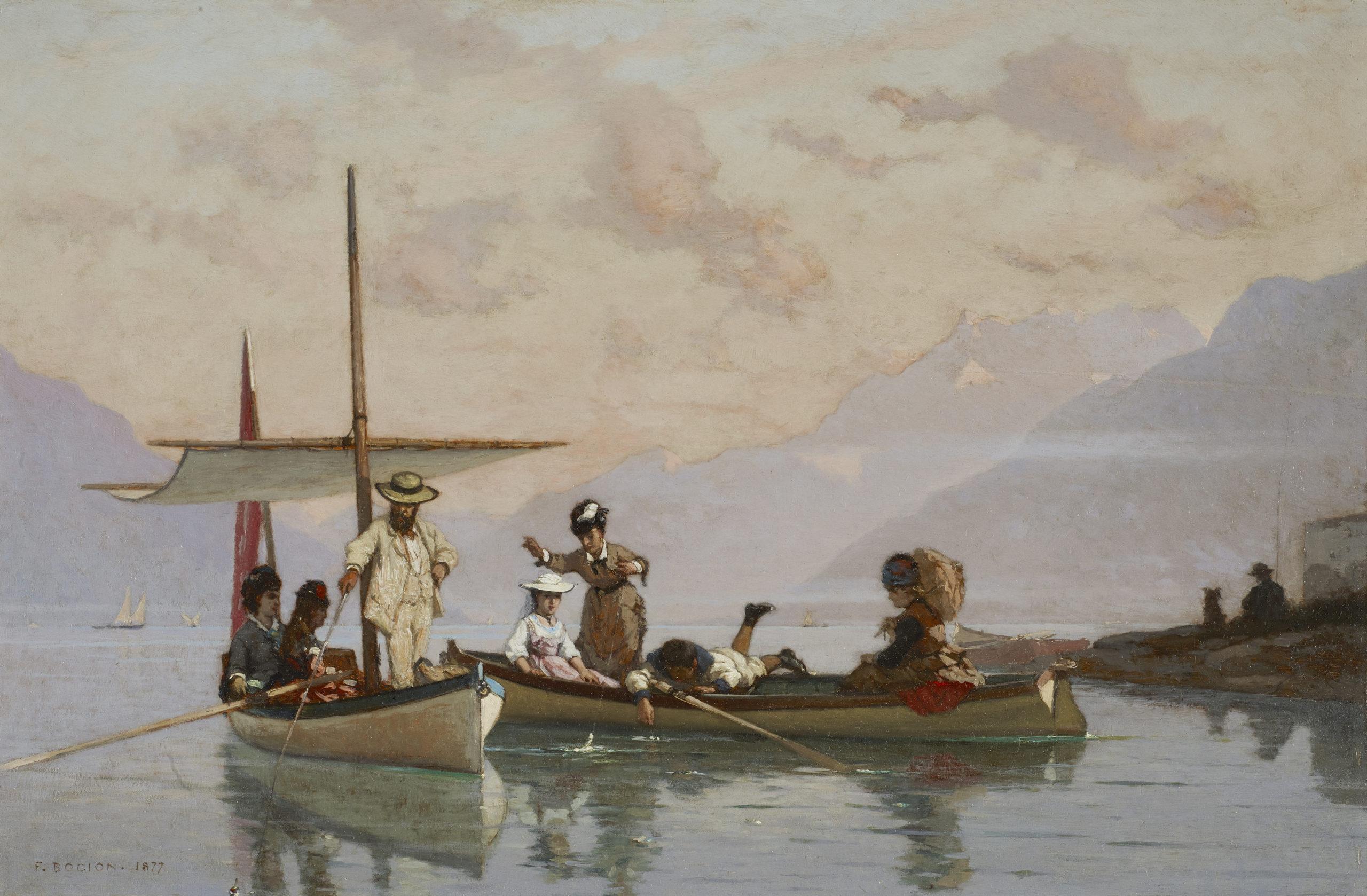 François Bocion, Bocion et sa famille à la pêche (Bocion e la sua famiglia in una partita di pesca), 1877, Losanna, ©Musée cantonal des Beaux-Arts de Lausanne