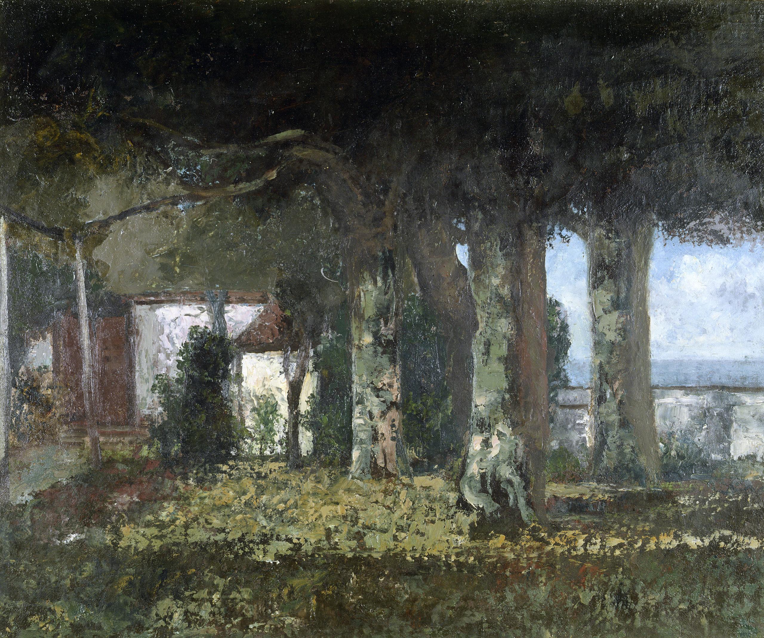 La Terrasse de Bon-Port, 1876, Musée Jenisch Vevey, don de Juliette Courbet, sœur de Gustave. ©Musée Jenish Vevey. Photos: Julien Gremaud