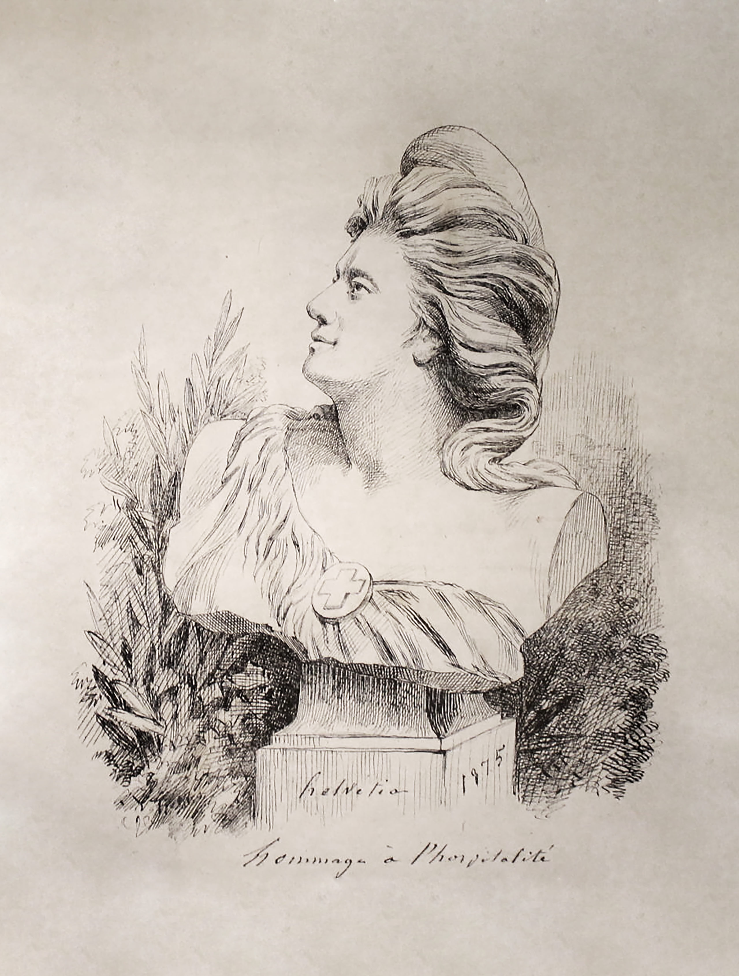 Helvétia, 1875, Lithographie auf Velin, Museum Jenisch, Vevey, Cabinet cantonal des estampes, Sammlung des Waadtlandes