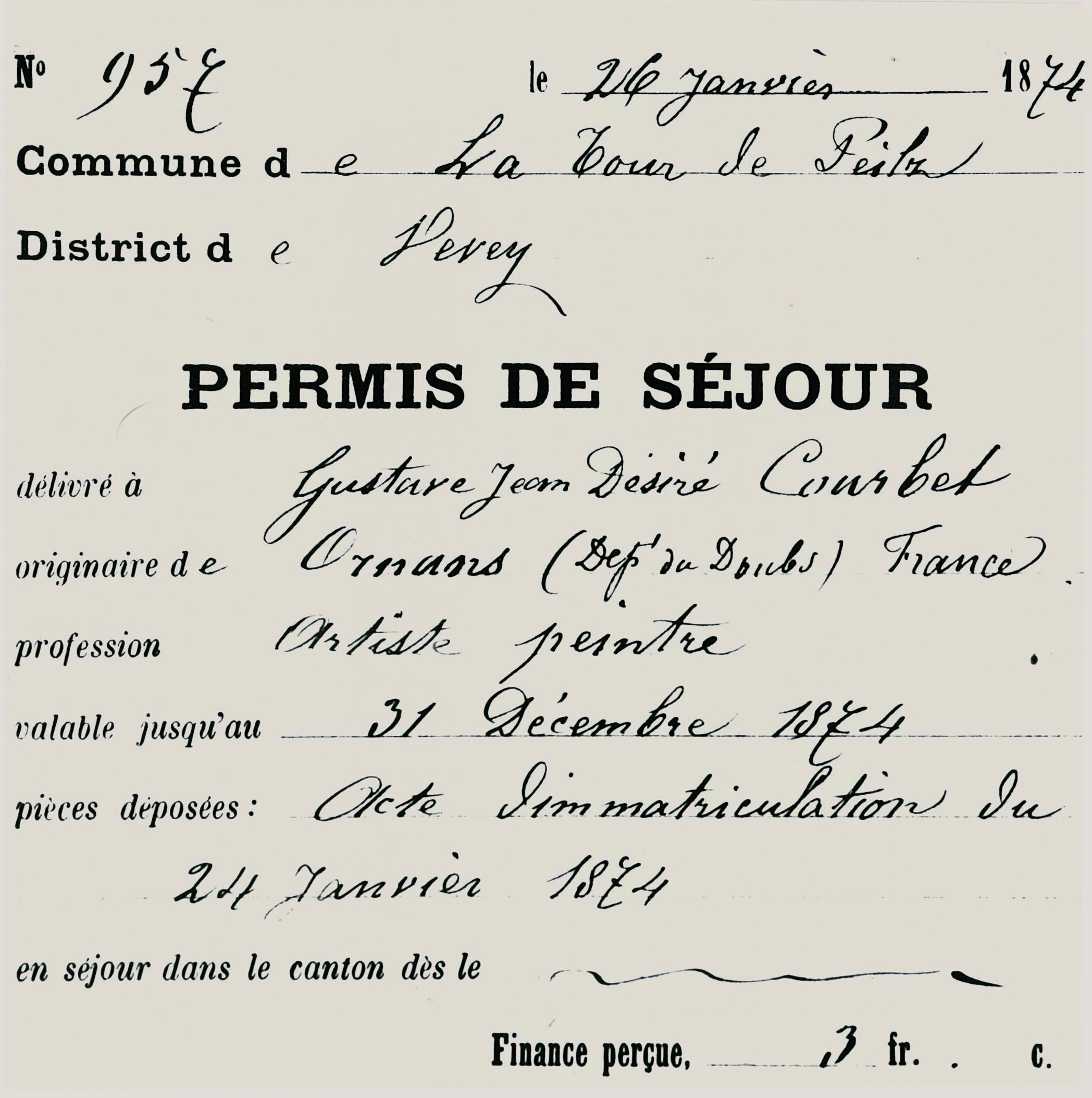 Resident permit granted to Gustave Courbet from the town of La Tour-de-Peilz on 26th January 1874. Municipal records
