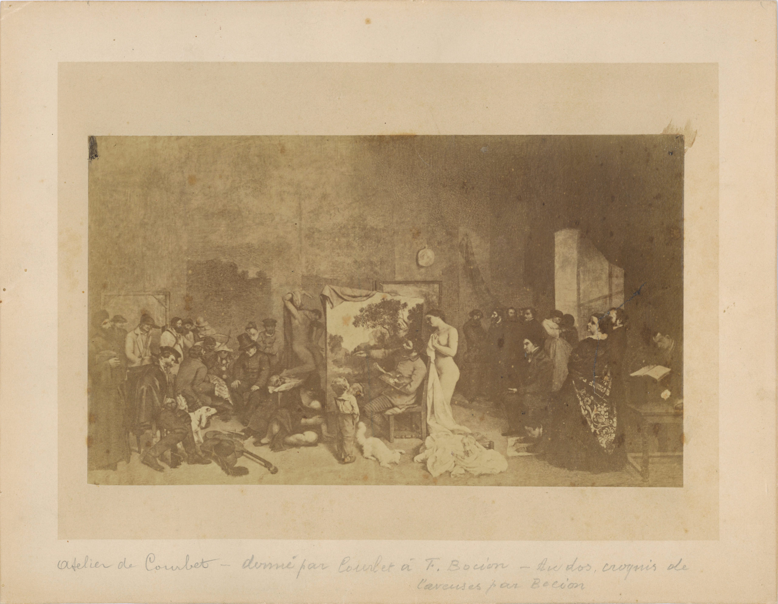 Photograph given to François Bocion by Gustave Courbet - Recto, l'Atelier du peintre