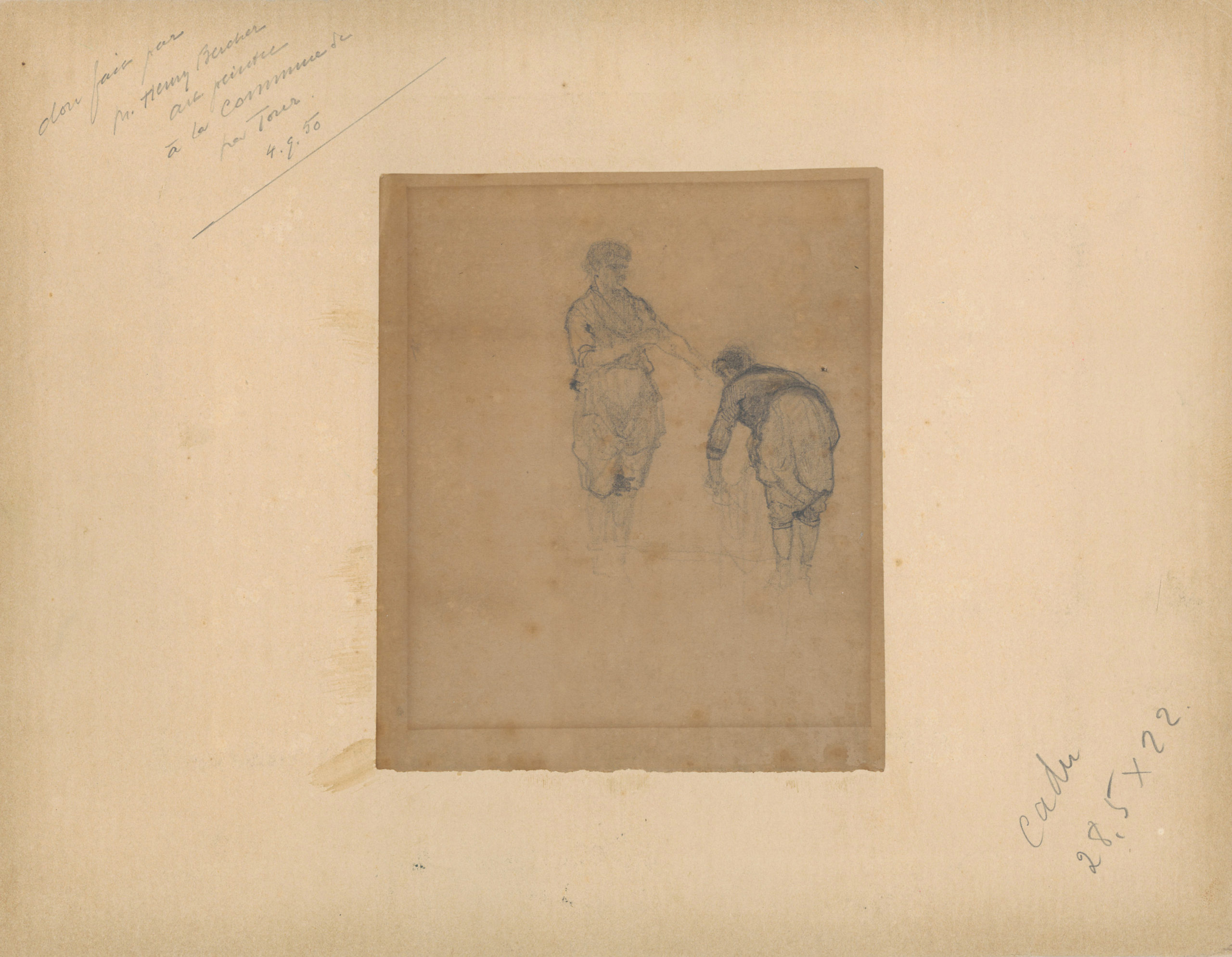 Photograph given to François Bocion by Gustave Courbet - Verso, sketch of two washers by François Bocion.