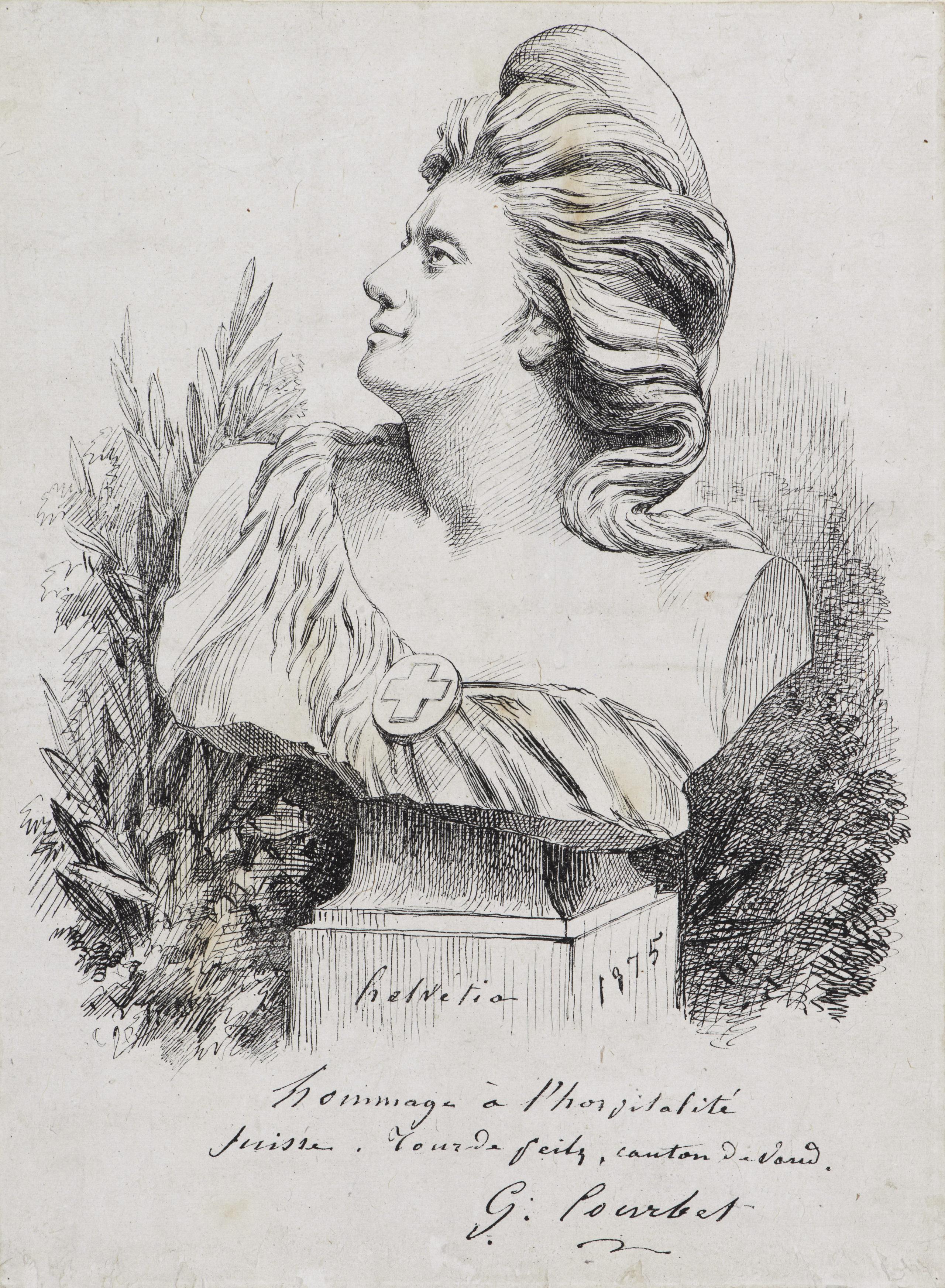 Helvetia, 1875 Lithographie sur papier vélin. Musée Jenisch Vevey – Cabinet cantonal des estampes, collection de l'Etat de Vaud