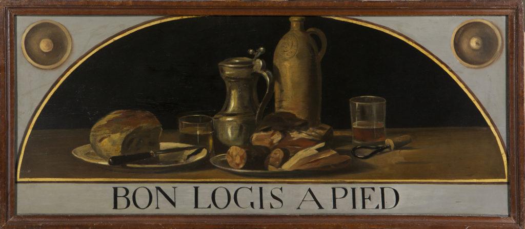 Gustave Courbet, Insegna «Bon logis à pied» realizzata dall'artista per il Café du Soleil, attorno al 1873. Collezione conservata presso il castello di Nyon.
