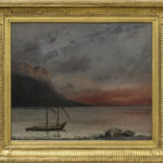 """""""Coucher de soleil sur le lac Léman"""" (Tramonto sul lago Lemano), 1874, donazione di Juliette Courbet, sorella dell'artista, 1915. ©Musée Jenisch Vevey. Foto : Julien Gremaud"""